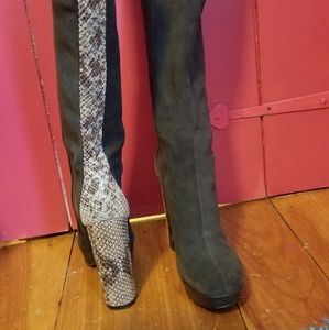 Calvin Klein swade boots with snakeskin stripe
